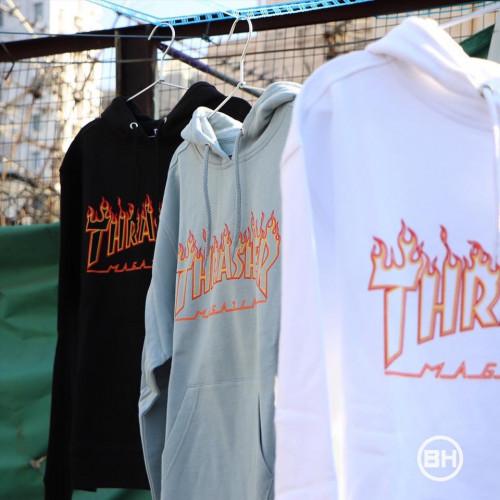Thrasher Flame Outline Hooded